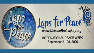Laps for Peace logo inside blue circle with Nevada Brain Injury swirl logo to the right