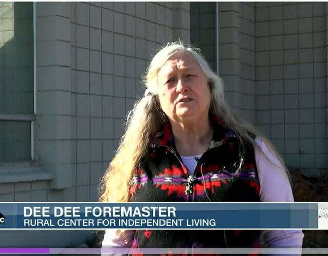 Dee Dee Foremaster frame from channel 8 video talking about Homeless Nevadans