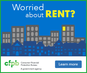 Worried About Rent? Words hover above an urban sprawl of high rises and homes in the night sky.
