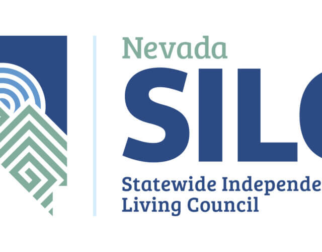 NV SILC logo is the shape of the State of Nevada with the sun rising between two mountain tops in blues and greens.