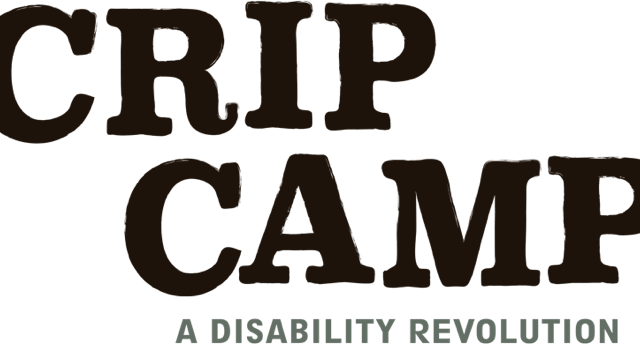 """Title """"Crip Camp"""" logo in black, bold letters. Underneath in small print, """"A Disability Revolution"""""""
